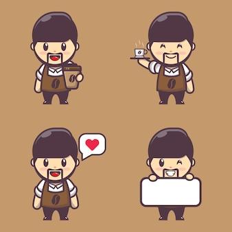 Personagem de ilustração do menino barista fofo