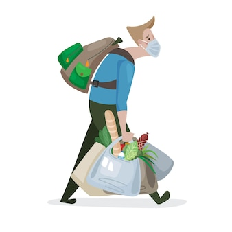 Personagem de ilustração vetorial cansado homem com uma máscara médica carregada de compras de alimentos