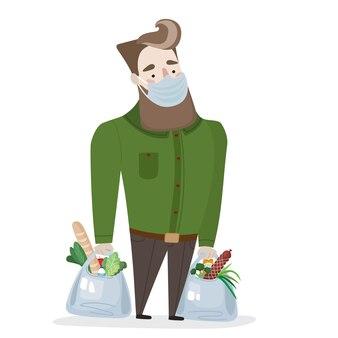 Personagem de ilustração vetorial isolada, um homem com barba segurando pacotes com comida no braço