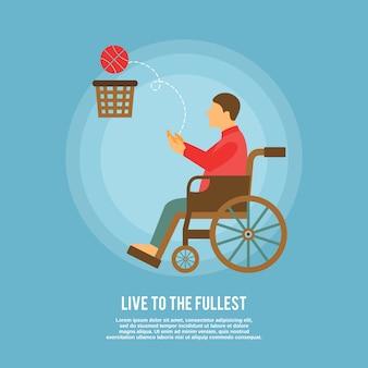 Personagem de jogador de basquete em cadeira de rodas com modelo de texto
