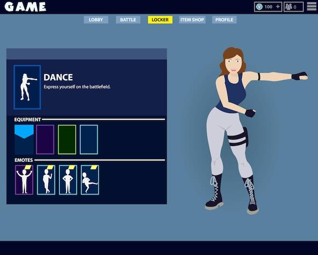 Personagem de jogo mulher fazendo um famoso floss dançar no jogo.