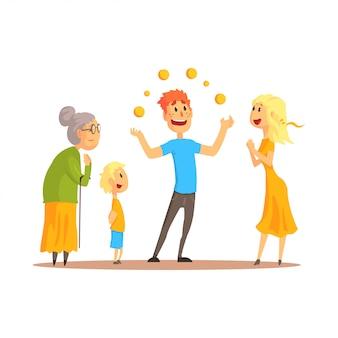 Personagem de jovem fazendo malabarismos com bolas laranja antes de pessoas felizes. ilustração detalhada dos desenhos animados coloridos do ator de circo ou rua em um fundo branco