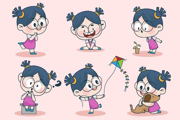 Personagem de jovem inteligente com diferentes expressões faciais e poses de mão.