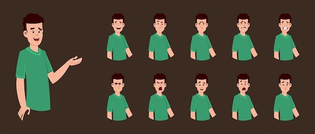 Personagem de jovem rapaz com expressão facial diferente para o seu design, movimento ou animação.