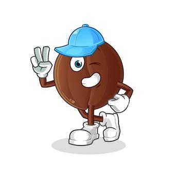 Personagem de jovem rapaz do feijão de café. mascote dos desenhos animados