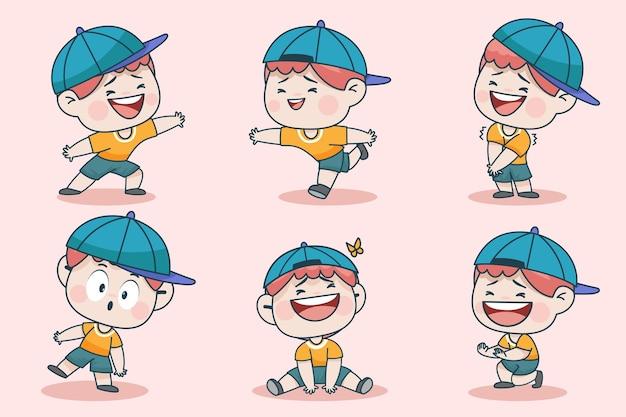 Personagem de jovem rapaz inteligente com diferentes expressões faciais e poses de mão.