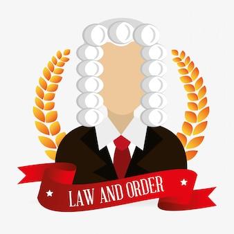 Personagem de juiz de direito e justiça legal