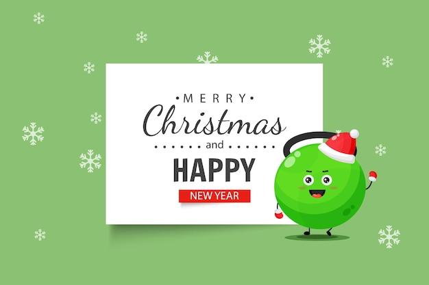 Personagem de kettlebell bonito de fitness deseja a você um feliz natal