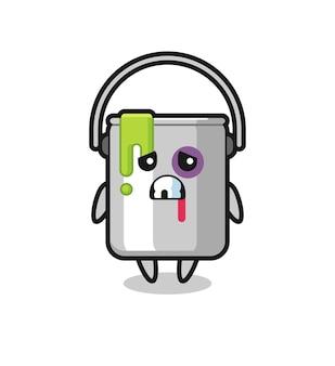 Personagem de lata de tinta ferida com um rosto machucado, design de estilo fofo para camiseta, adesivo, elemento de logotipo
