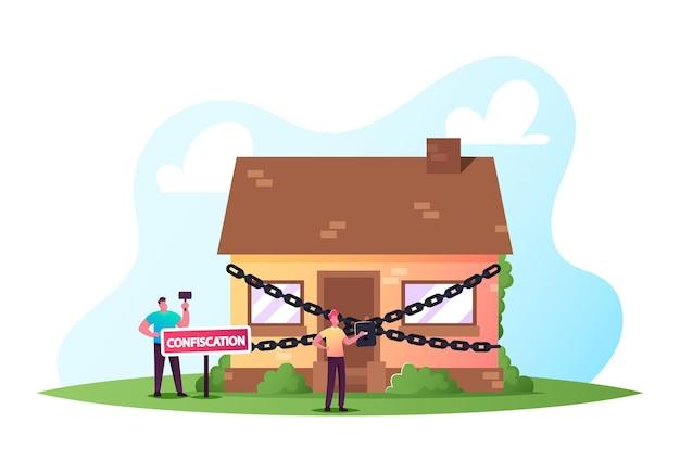 Personagem de leiloeiro julgando leilão de casa imobiliária anexada à hipoteca e confiscada do proprietário com dívida