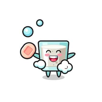 Personagem de leite está tomando banho enquanto segura o sabonete, design de estilo fofo para camiseta, adesivo, elemento de logotipo Vetor Premium