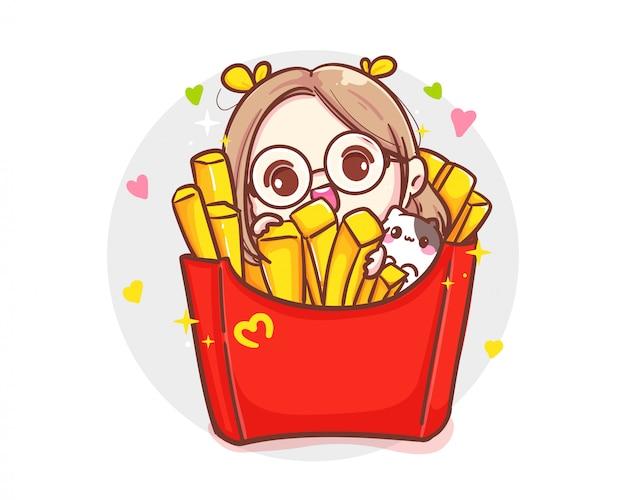 Personagem de linda garota e caixa de deliciosas batatas fritas em fundo branco com refeição de fast food.