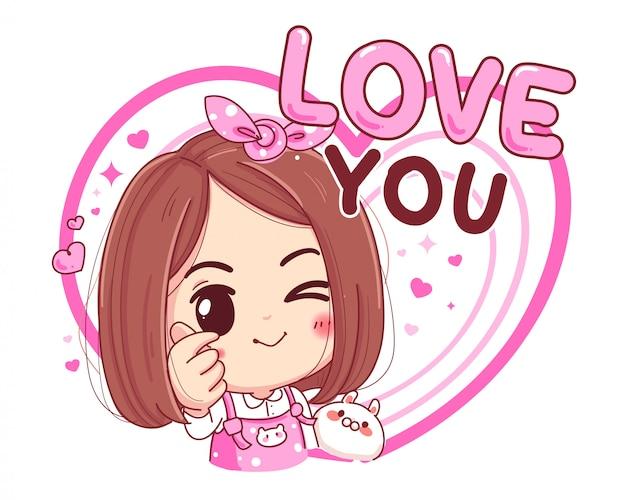 Personagem de linda garota feita mini símbolo do coração com o sinal do dedo isolado no fundo branco.