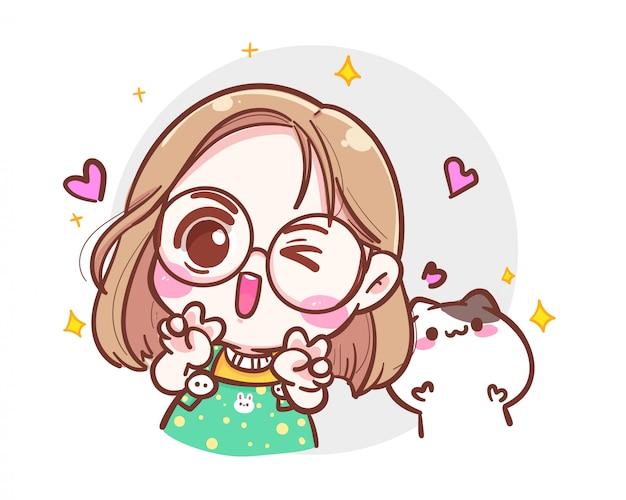 Personagem de linda garota mostrando as duas mãos e emoção alegre ou animada em fundo branco com conceito surpresa.