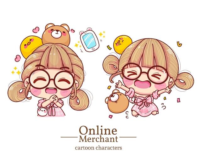 Personagem de linda garota sorrindo com alegria cartoon definir ilustração.