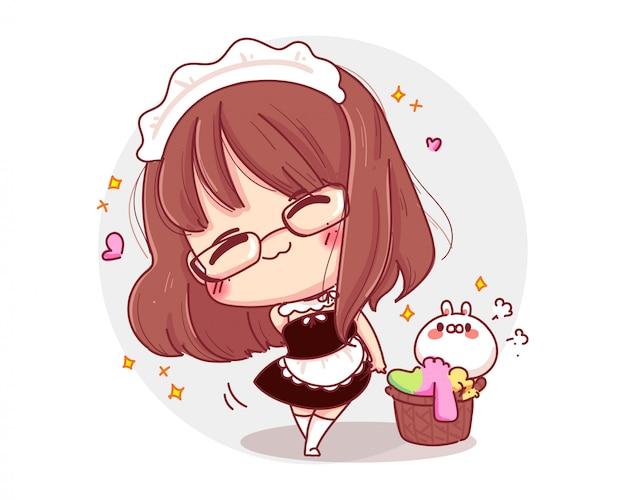 Personagem de linda garota vestindo uniforme de empregada doméstica com postagem isolado no fundo branco.