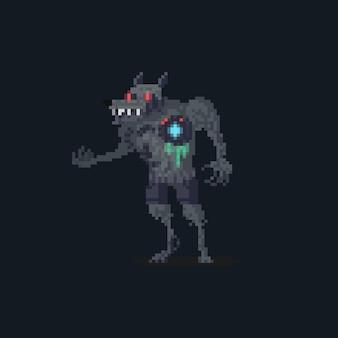 Personagem de lobisomem ciborgue da pixel art