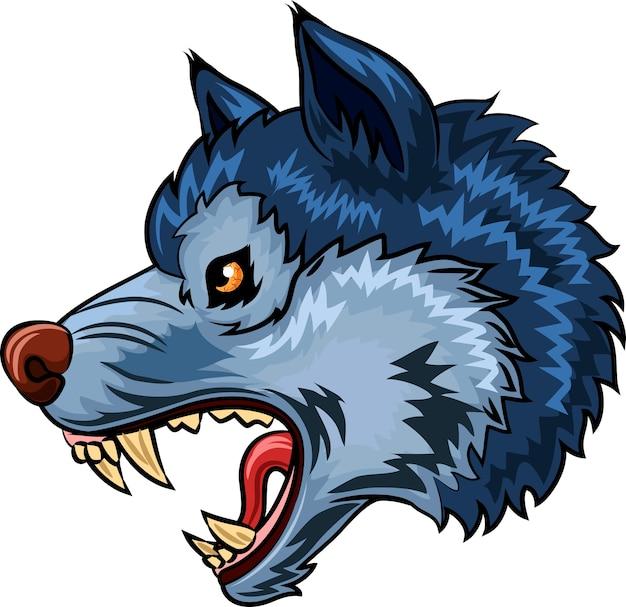 Personagem de lobo bravo isolado no fundo branco