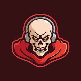 Personagem de logotipo eletrônico do mascote assustador do esqueleto