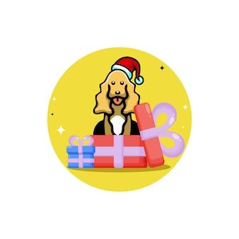 Personagem de logotipo fofo de presente de natal para cachorro