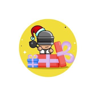 Personagem de logotipo fofo para presente de natal pubg