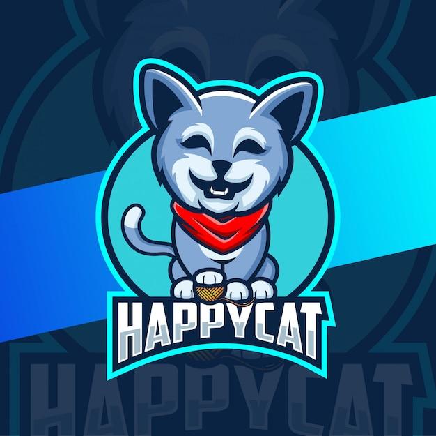Personagem de logotipo mascote gato feliz