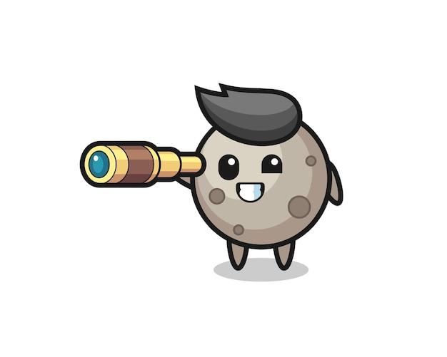 Personagem de lua fofa está segurando um telescópio antigo, design de estilo fofo para camiseta, adesivo, elemento de logotipo