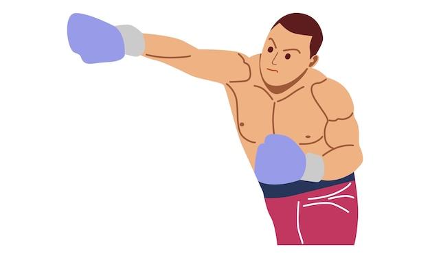 Personagem de luta do boxeador Vetor Premium