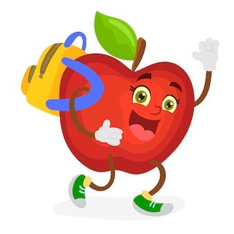 Personagem de maçã engraçada com mochila