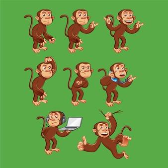 Personagem de macaco engraçado em poses diferentes