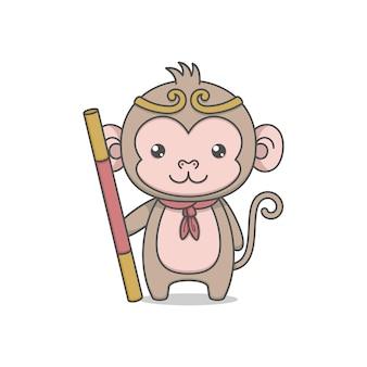 Personagem de macaco rei fofo segurando cajado