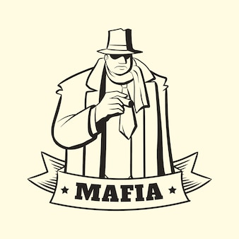 Personagem de máfia retrô gangster
