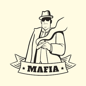 Personagem de máfia vintage gangster