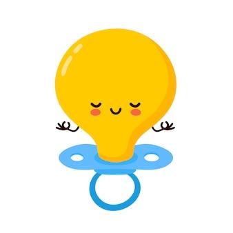 Personagem de mamilo bebê fofo e feliz medite. ilustração de personagem de desenho animado