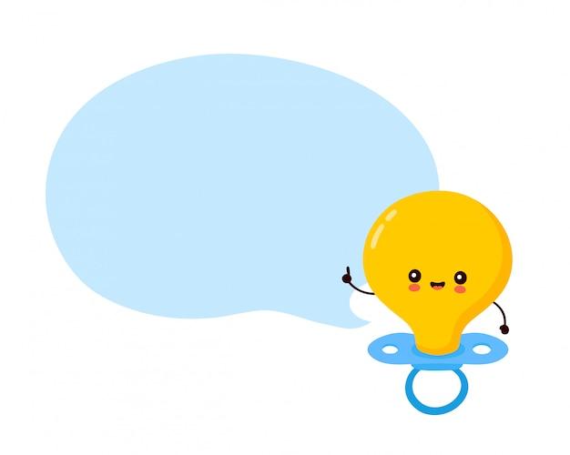 Personagem de mamilo de bebê fofo e feliz com bolha do discurso. ilustração de personagem de desenho animado