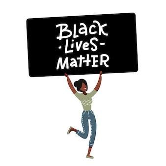 Personagem de manifestante americana negra.