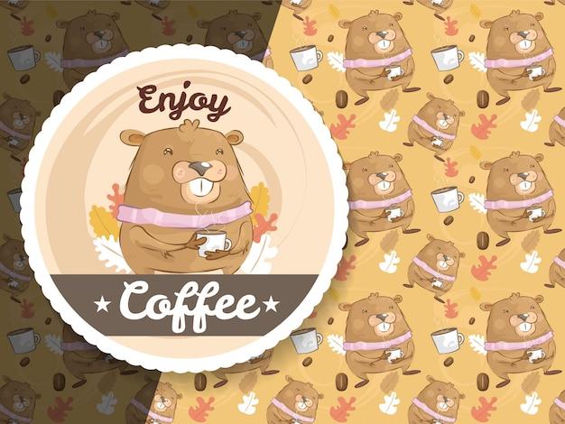Personagem de marmota fofa com café