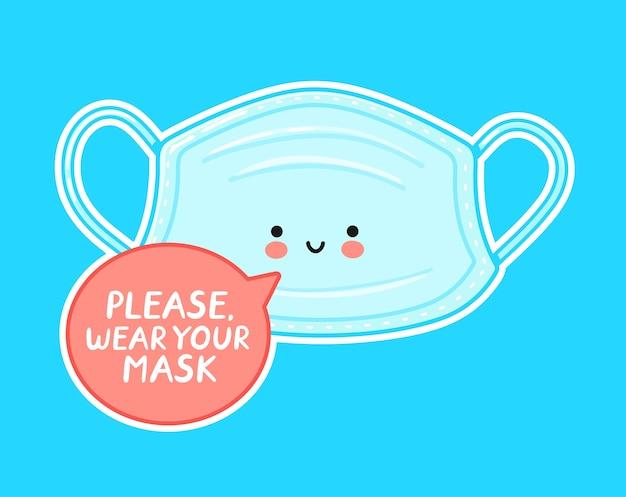 Personagem de máscara facial médica feliz fofa