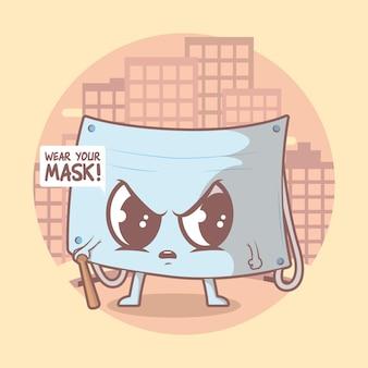 Personagem de máscara facial. segurança, prevenção, concepção de pandemia