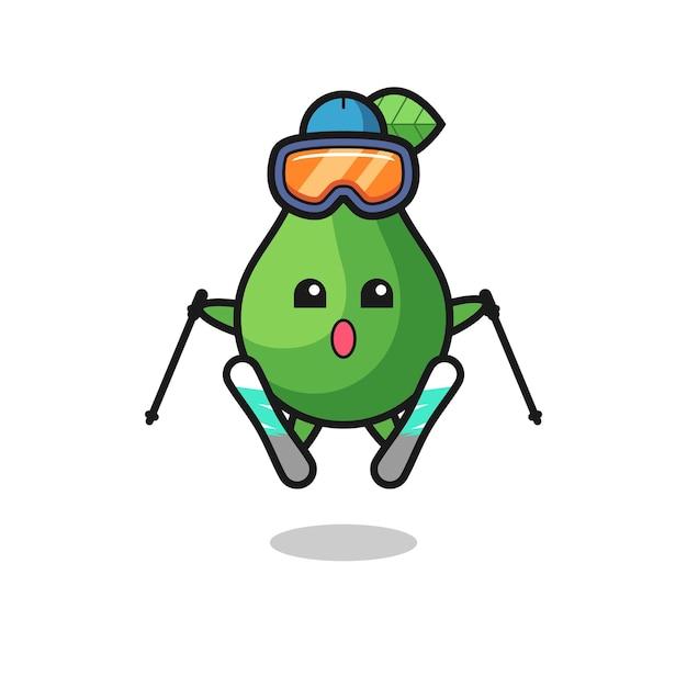 Personagem de mascote abacate como jogador de esqui, design de estilo fofo para camiseta, adesivo, elemento de logotipo