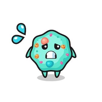 Personagem de mascote ameba com gesto de medo, design de estilo fofo para camiseta, adesivo, elemento de logotipo