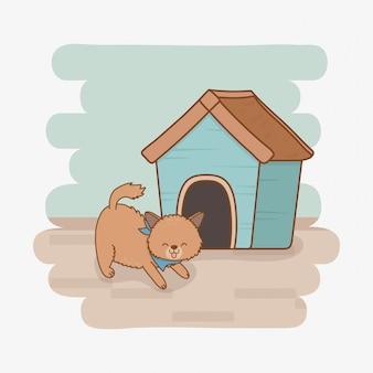 Personagem de mascote cachorrinho bonitinho