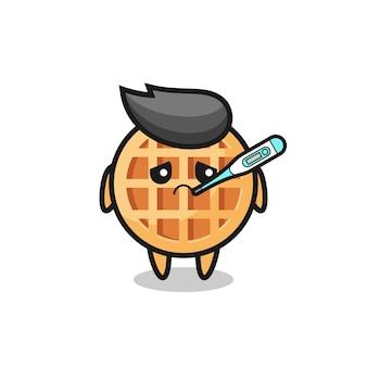 Personagem de mascote circular waffle com febre, design fofo