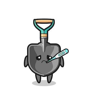 Personagem de mascote com febre e design fofo