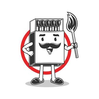 Personagem de mascote corresponde a ilustração vetorial de fogo