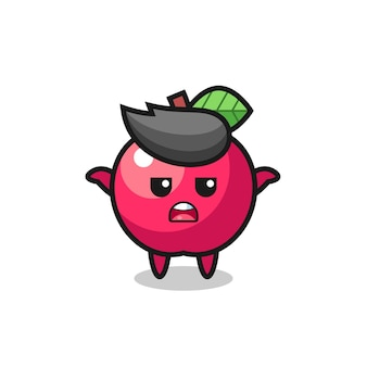 Personagem de mascote da apple dizendo não sei, design de estilo fofo para camiseta, adesivo, elemento de logotipo