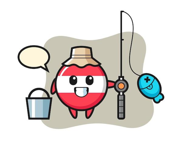 Personagem de mascote da bandeira da áustria como pescador