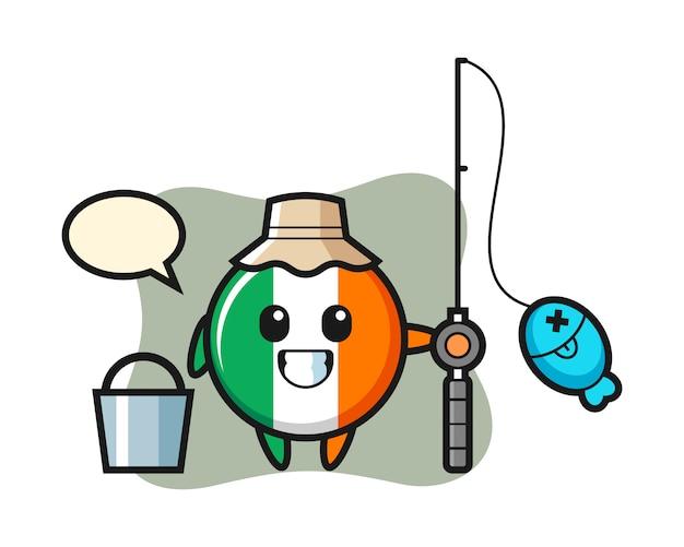 Personagem de mascote da bandeira da irlanda como pescador