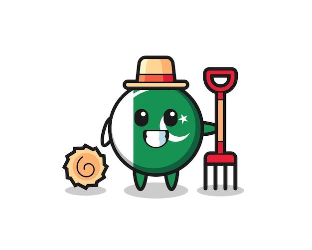 Personagem de mascote da bandeira do paquistão como fazendeiro, design fofo