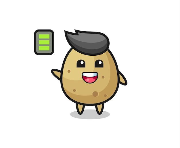 Personagem de mascote da batata com gesto enérgico, design de estilo fofo para camiseta, adesivo, elemento de logotipo